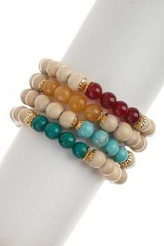 Carnelian & Yellow Agate Bracelet Set.