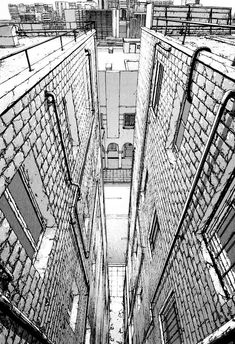 Architectural Urban Sketches and Cityscape Drawings. See more art and information about Kiyohiko Azuma here=> http://bit.ly/1KxK1S4