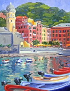 Harobr at Vernazza - Cinque Terre Italy - Oil Paintings by Joseph Burrough