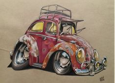 Tooned out car portrait for a customer on grey stock paper using prisma colored pencils Car Drawings, Cartoon Drawings, Cartoon Art, Beetle Cartoon, Arte Pink Floyd, Carros Retro, Beetle Drawing, Automotive Art, Art Cars