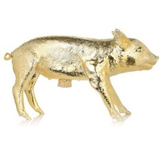 Golden Gilded Piggy Bank  bright shiny pig home decor areaware harry allen deal discount free shipping