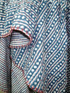 Vintage Cotton Kantha Quilt Reversible Sari Throw Blanket Bed