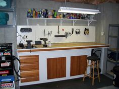 The work bench I built into the garage.