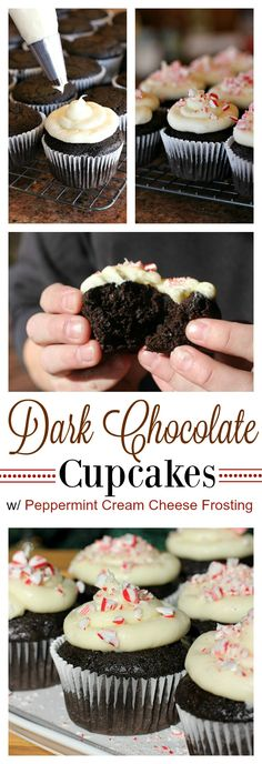 Dark Chocolate Cupcakes with Peppermint Cream Cheese Frosting Collage