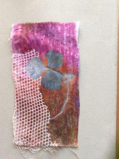 Heat transfer paints on cotton. Hydrangea petal.  Rachel Grigg Textile Artist