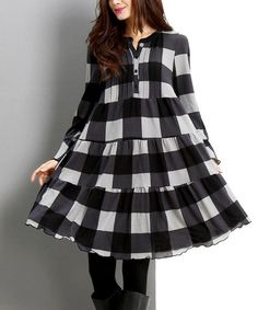 Look what I found on #zulily! Black Buffalo Check Button-Front Tiered Dress by Reborn Collection #zulilyfinds
