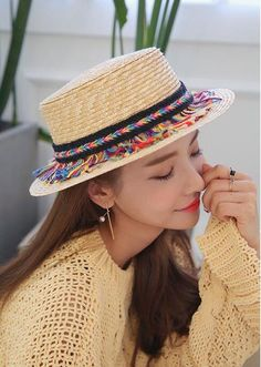 0994119afe689 2018 New Straw Hats Bohemian National Wind Retro Grass Hat British Rainbow  Wheat Straw-in Sun Hats from Women s Clothing   Accessories on  Aliexpress.com ...