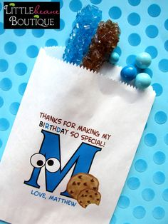 Cookie Monster Birthday Party, Sesame Street Birthday Party , Favor bags, candy bags, Sweets, Treats, Set of 24