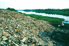 This is a pile of circuit boards next to a river where circuit boards were first treated with acid to remove metals (the acids flowing into the river) and burned openly. Massive amounts of dumping of imported computer waste takes place along the riverways. Guiyu, China. December 2001. Photo by Basel Action Network (BAN)