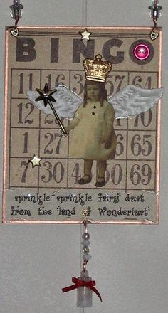 Fairy Dust - altered art mixed media collage by chaoticartworks - one of my creations using a vintage Bingo card. #fairy #vintage