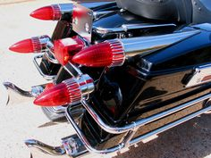 """These beautiful and distinctive """"Dagmar Lights"""" add excitement and enhanced visibility to your Harley. """"Dagmar"""" saddle bag lights can be wired as you choose for running, directional and brake lighting*. Cadillac, Lights, Biker, Motorcycles, Image, Bicycles, Lighting, Motorbikes, Motorcycle"""