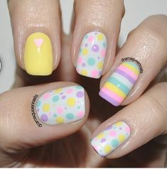 These are so cute! Nail art by dramaqueennails. Love the bright and colorful pastel colors!! Interesting nail art indeed! =)