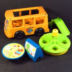 Fisher Price School Bus Playground and Art Accessories for Nursery School #929 #FisherPrice