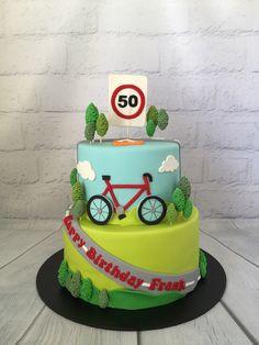 60th Birthday Ideas For Dad, Bike Birthday Parties, 7th Birthday Cakes, Daddy Birthday, Bicycle Party, Bicycle Cake, Bike Cakes, Mountain Bike Cake, Dad Cake