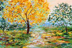 Painting original oil Autumn Forest Landscape palette knife on canvas fine art impressionism by Karen Tarlton via Etsy