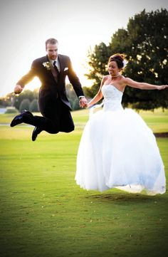Bride and groom jump after ceremony. See more from this classy brown Nashville wedding in the fall by @zooom113!   The Pink Bride www.thepinkbride.com