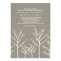Gray and White Winter Tree Wedding Invitation