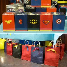 superheroes themed popcorn boxes and loot bags