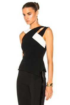 Image 2 of Roland Mouret Thornhill Stretch Viscose Top in Black & White