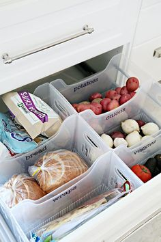 Easy Tips to Organize the Kitchen - Create a Pantry Drawer with Multi Purpose Labeled Bins via i heart organizing #kitchenorganization #kitchenhacks #kitchentips #kitchenideas #organizationtips #organization #organizationideas