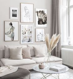 gallery-wall-in-tones-of-beige-with-minimalistic-illustrations-and-oak-frames-gallery-wall-inspiration-posterstore-co-uk/ SULTANGAZI SEARCH Inspiration Wand, Living Room Inspiration, Interior Design Inspiration, Decor Room, Living Room Decor, Home Decor, Wall Design, House Design, Beige Living Rooms