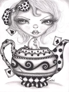 Lowbrow Art Company Alice Lost In A Tea Pot - Canvas Giclee - This is a gallery wrapped canvas print that comes on a stretcher bar & is ready to hang. Doll Drawing, Girl Drawing Sketches, Blank Coloring Pages, Colouring Pics, Skull Cupcakes, Pin Up Drawings, Coloring Pages Inspirational, Black And White Sketches, Gothic Dolls