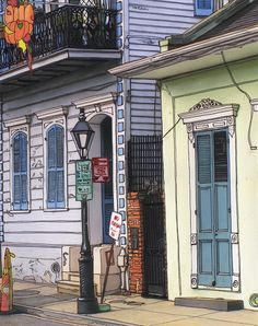 120 French Quarter Sidewalk Scene Painting by John Boles