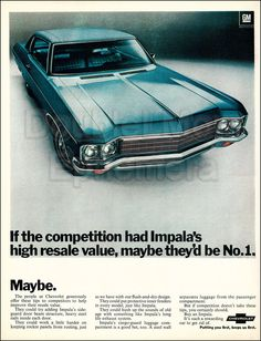 1970 Chevrolet Impala Vintage Print Ad // Vintage Chevrolet Advertisements // Classic 1970s Cars // 1970s GM Sedan Cars // 10x13 Car Art