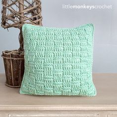 Crochet Throw Pillow Pattern (Basketweave Throw Pillow Crochet Pattern by Little Monkeys Crochet) PDF Crochet Throw Pillow Crochet Pattern Crochet Home, Hand Crochet, Free Crochet, Crochet Baby, Knit Crochet, Crochet Cushion Cover, Crochet Cushions, Crocheted Blankets, Crochet Pillow Patterns Free