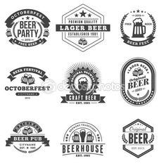 Illustration of Set of Retro Vintage Beer Badges, Labels, Logos. Black and White Vector Illustration vector art, clipart and stock vectors. Beer Logo Design, Beer Label Design, Beer Brewery, Beer Bar, Craft Beer Brands, Free Beer, Beer Packaging, Beer Festival, Retro Vintage