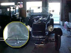 "paranormal ghost ""On November 15, 2011, around 3:30 p.m, I took this photo of this Model T parked in storage for the Eklund Hotel in our town, Clayton, New Mexico,"" says Coby. ""There have always been stories about a ghost named Irene in the motel. It was built in the late 1800s. I felt/saw nothing unusual at the time I took the picture. It was simply needed for insurance coverage. Please check out the image behind the wheel and let me know what you think."