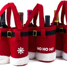 Christmas Wine Bottle Covers or Wine Bags Set These cute and adorable santa pants can store wine bottles or treats! Use them to give out your sweets to kids or store your wine bottles in a decorative and fun way! Place them under the tree, on your bookshelf, in your home, kitchen, or office! What is even better is that they can be reused! Great for storing wine bottles, bottles, treats, surprises, candies or more! Set comes with 3 pieces of Santa pants design bags.  Cute and adorable for…