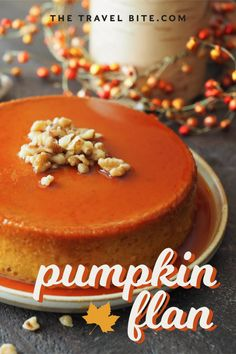 Pumpkin flan is such a deliciously simple dessert, and so easy to transport for holiday parties too! We hope you enjoy this easy pumpkin flan recipe. Pumpkin Flan, Pumpkin Dessert, Pumpkin Recipes, Cookie Recipes, Dessert Recipes, Bakery Recipes, Cannoli, Easy Desserts, Delicious Desserts