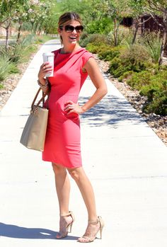office style - pink shift dress with ankle strap heels