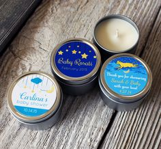 12 - Custom Baby Shower Candle Favor, 2oz Tins with Custom Labels, Twinkle Little Star, Candle Favor, Personalized Baby Shower Favor by BitterWilloughby on Etsy https://www.etsy.com/listing/221231675/12-custom-baby-shower-candle-favor-2oz