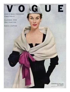 Vintage Fashion Vogue Cover - November 1952 - A Vogue Cover Of A Woman Wearing Balenciaga by Frances Mclaughlin-Gill Vogue Vintage, Vintage Vogue Covers, Vintage Fashion 1950s, Vintage Mode, Vintage Couture, Vintage Glamour, Retro Fashion, Indian Fashion, 1950s Style