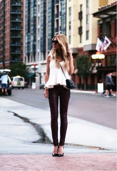 leather-like leggings paired with an ultra girly top ~ love