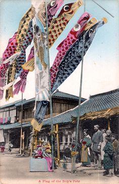 Koinobori at Boy's day, ca. 1910