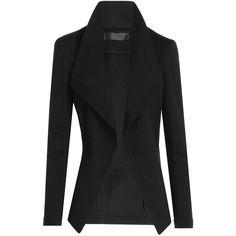 Donna Karan New York Jersey Blazer (€1.030) ❤ liked on Polyvore featuring outerwear, jackets, blazers, black, donna karan jacket, open front jacket, slim fit jacket, slim fit blazer and draped blazer