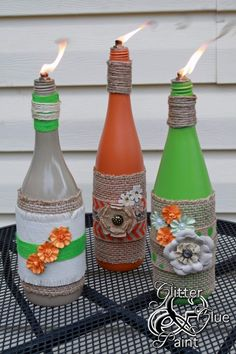 Have a favorite wine? Have a wine bottle that you decorated? Add a wick and turn it into a candle! Tutorial by Glitter, Glue and Paint(Coke Bottle Painting)