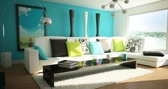 Living Room Interior Design White Sofa Blue Backdrop - Interiornity