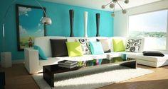 Living Room Interior Design White Sofa Blue Backdrop - Interiornity