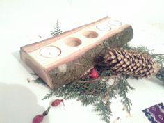 Shop for on Etsy, the place to express your creativity through the buying and selling of handmade and vintage goods. Log Candle Holders, Wedding Centerpieces, Christmas Decorations, Candles, Unique Jewelry, Awesome, Handmade Gifts, Vintage, Etsy