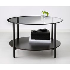 IKEA VITTSJÖ Coffee table, black-brown, glass (14.705 HUF) via Polyvore featuring home, furniture, tables, accent tables, glass shelf, glass top accent table, black round accent table, black glass shelves and round coffee table