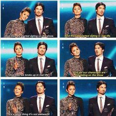 Nina Dobrev and Ian Somerhalder at the People's Choice Awards 2014