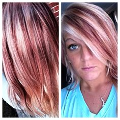 Bold red lowlights over blonde hair  on @Sarah Rysz  !!!