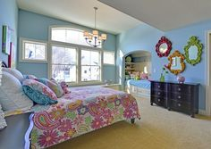 Girls' Bedroom Design Ideas, Pictures, Remodel, and Decor - page 106 Decor, Teenage Girl Bedrooms, Furniture, Interior, Girls Bedroom, Mirrored Bedroom Furniture, Traditional Kids Bedroom, Home Decor, Room