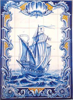 Caravela pintada em azulejo 15x15 por Élio Costa Delft Tiles, Blue Tiles, Mosaic Tiles, Tile Murals, Tile Art, Wall Art Decor, Mural Wall Art, Old Pottery, Fresco