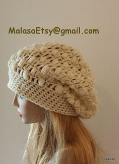 Fall Winter Beanie Jumbo Slouchy Hat in CREAM Fashion by Malasa, $35.00