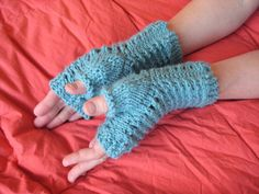 Balls to the Walls Knits: Slip-Stitch Mesh Fingerless Gloves made with regular knitting needles